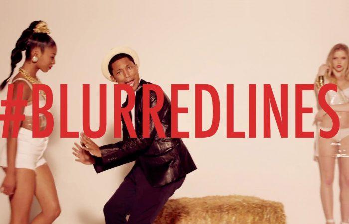 production studio shoot for blurred lines pharrell